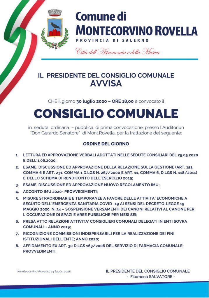 Consiglio Comunale del 30 luglio 2020
